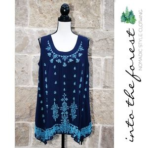 NWT Sundance Navy Sleeveless Top w/ Beading Large